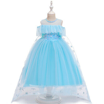 Girls Kids Long Tutu Dress Princess Party Prom Halloween Cosplay Costumes Gowns