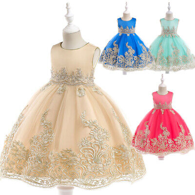 Girls Pageant Costumes Children Embroidery Flower Wedding Party Princess Dresses