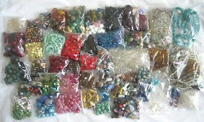 Huge Antique Vintage Mixed Beads Lot Collection Crystals Gemstone Glass