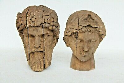 Pair Of Stunning Hand Carved Head Wood Gothic Antique Victorian Style Carvings