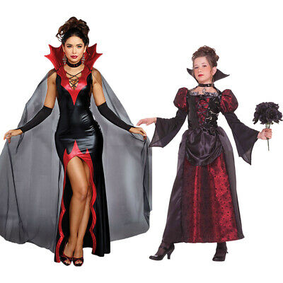 Woman Girls Vampire Costume Outfit Adult Kids Halloween Fancy Dress Witch Scary