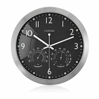 12 Inch Metal Frame Round Wall Clock With Thermometer Hygrometer Display-%