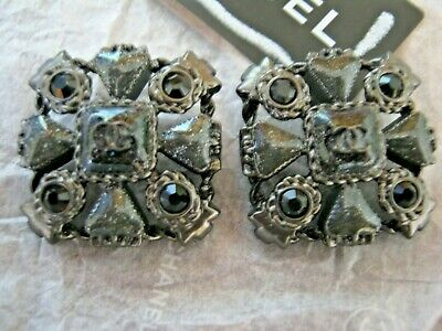 Chanel 2 Metal Cc Logo Front Sparkly Gray Buttons  23 Mm /  1'' New Lot 2
