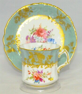 Hammersley Greenish Blue Scalloped Floral Tea Cup & Saucer (Teacup)