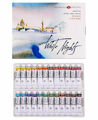 24PC Watercolor Paint Set in Tubes Professional White Nights Nevskaya Palitra