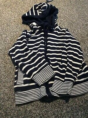 Boys/girls Marks And Spencer Navy White Stripe Hoodie Age 3-4