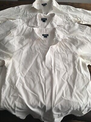 Boys Chaps White Shortsleeved Dress Shirt ~ Size 18 ~ Lot Of 3 ~ Pre-owned