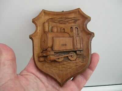 A Victorian/Early Edwardian Carved Wooden Steam Train Plaque c1890/1905