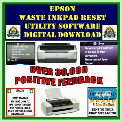 Epson Stylus Printer Waste Ink Pad Counter Fault Reset Software DIGITAL DOWNLOAD