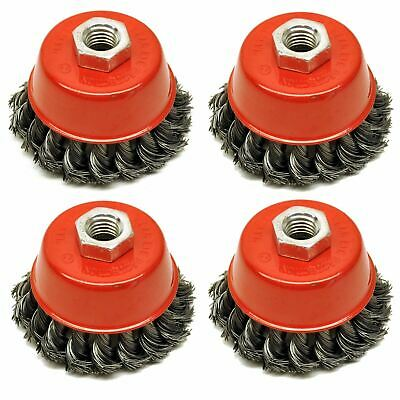 """Wire Cup Brush Wheel 3"""" for 4-1/2"""" 115mm Angle Grinder Twist Knot 4 Pack AU026"""