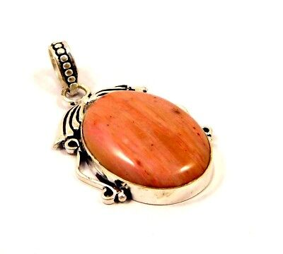 Pink Calcite Stone Pendant .925 Silver Plated Bohemian Fashion Gift JT1308