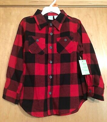 NEW! Peanut & Ollie Boys 4 4T Button Down Buffalo Plaid Shirt Red Black Long Sle