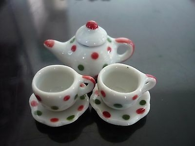 Dotty Hand Paint Coffee Cup Saucer Teapot Dollhouse Miniatures Holiday Christmas