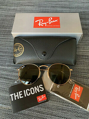 Ray Ban RB3447 Round Metal 001 50 21 Classic Green Lenses Gold Frame Sunglasses