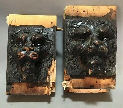 Lot (2) Antique 19thC VICTORIAN CARVED Wood LION BUST Statue CORBEL SCULPTURE