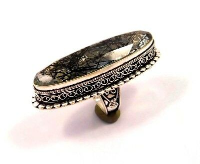 Black Needle Rutile .925 Silver Plated Handmade Ring Size-6.50 Gift JC6739