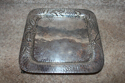 Antique Aesthetic Movement Sterling Silver Tray Dragonfly D&H Dominick & Haff