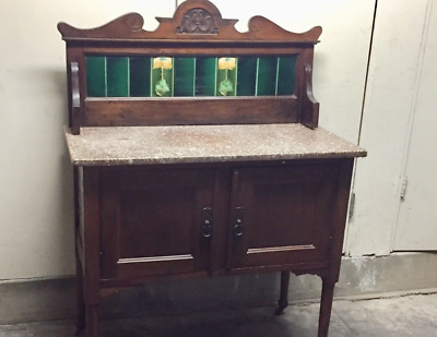 French Antique Wash Stand Dresser Unit Marble Top With Mirror + Victorian Tiles