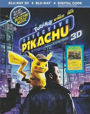 POKEMON DETECTIVE PIKACHU 3D BLU-RAY & BLURAY & DIGITAL SET with Ryan Reynolds