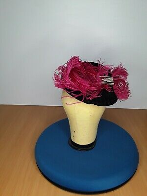 Original late 1930s/Early 1940s Tilt Topper Hat Black Velvet with Pink feather