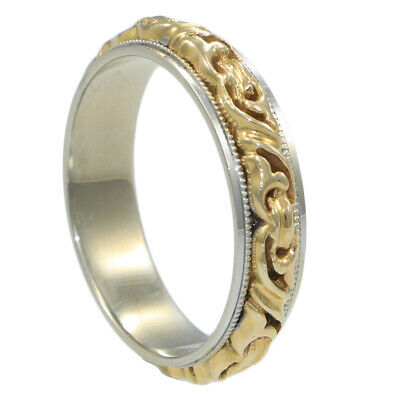 Cigar Ring Byzantine Chain Link Band Columbia 14k Yellow White Gold Wide