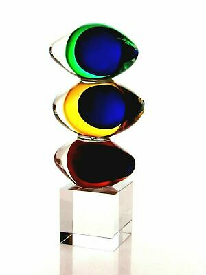Amazing Space Age Art Glass Multi Sommerso Freeform Triple Globes Sculpture