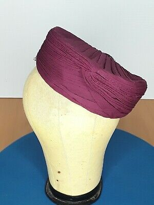 Original Late 1930s/ early 1940s WWII Burgundy Turban Hat - RARE English Hat