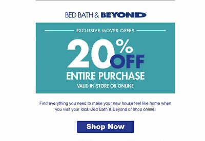 Bed Bath and Beyond  20% Off Entire Purchase 1coupon - expires 09-13-2019
