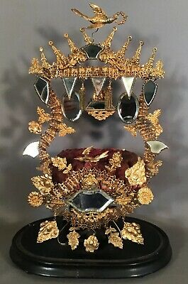 19thC Antique FRENCH ORMOLU Old VICTORIAN BRIDE Brass BIRD & FLOWER TIARA STAND