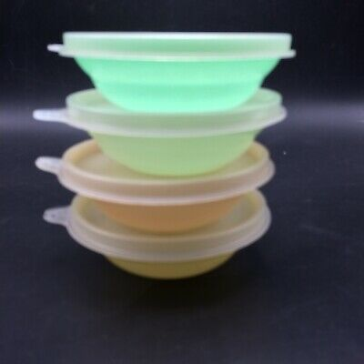 4 Vtg Tupperware Mini Pastel Wondelier Bowls #154 w Lids Desserts Snacks Berry