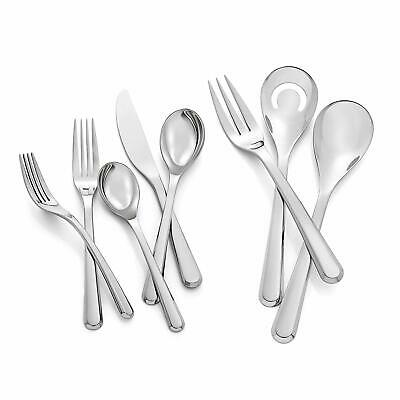 Nambe Aura 45 Piece Stainless Steel Flatware Cutlery Set - Service For 8, Silver