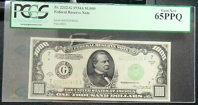FR 2212-G 1934-A $1000 One Thousand Frn Federal Reserve Note