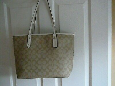 fbdd781d NWT! COACH LARGE Light Khaki / Chalk Coated Canvas City Zip Tote Bag ...