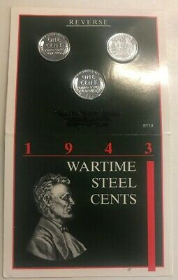 1943 US Steel Cent Lincoln Wheat Pennies Wartime Emergency Issue In Holder P D S