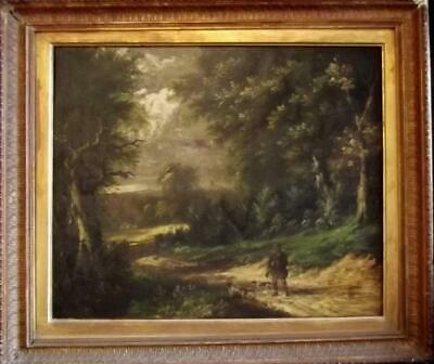 19th Century Antique FOLK Oil Painting HUNTSMAN & DOGS BARKER OF BATH Interest