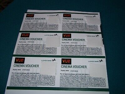 6 VUE Cinema Tickets (Club Lloyds) exp 31/7/20 will be sent 1st class signed for