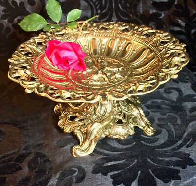 very ornate large beautiful heavy antique cast polished brass Tazza Compote