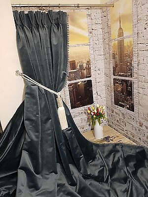"""NEW Heavy Weight Cotton Velvet Slate Grey112""""L76""""W Lined Curtains French Pleat"""