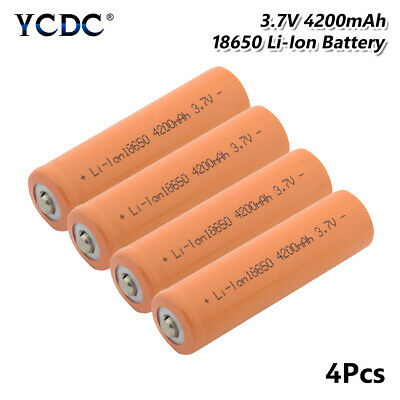 4Pcs 18650 Battery 3.7V 4200mAh Li-ion Cell Rechargeable For Flashlight Torch 8