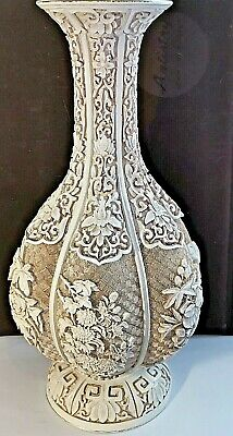 """Large Chinese Hand Carved White Cinnabar Vase Brass/Copper Body 12.25"""""""