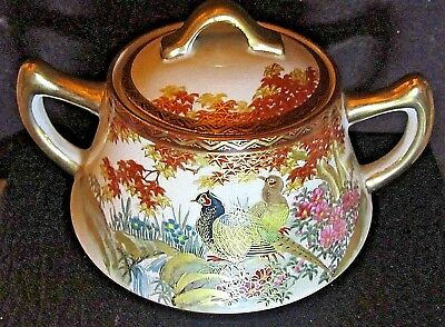 Antique Japanese Satsuma Sugar Bowl with Gold,  Birds and Flowers Decoration