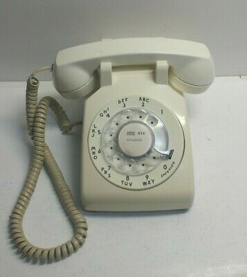 Vintage Western Electric 500 DM Rotary Dial Bell System Phone - Light Cream