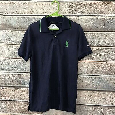 POLO Ralph Lauren Men's Green Short Sleeve Rugby Shirt Blue Pony L Large