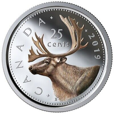 Canada 2019 25 Cents 99.99% Proof Silver Coloured Quarter Heavy Cameo Coin