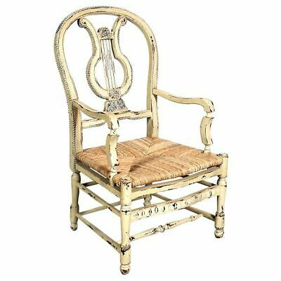 French Country Farmhouse Distressed Parchment Carved Mahogany Armchair Lyre