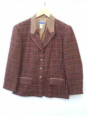 Pendleton Women's Houndstooth Blazer Jacket Wool Blend Sz 14 USA