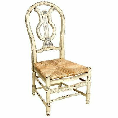 French Country Farmhouse Distressed Parchment Carved Mahogany Side Chair Lyre