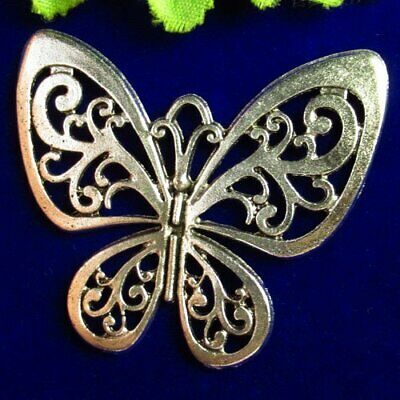 46x53x2mm Carved Tibetan Silver Butterfly Pendant Bead M01887