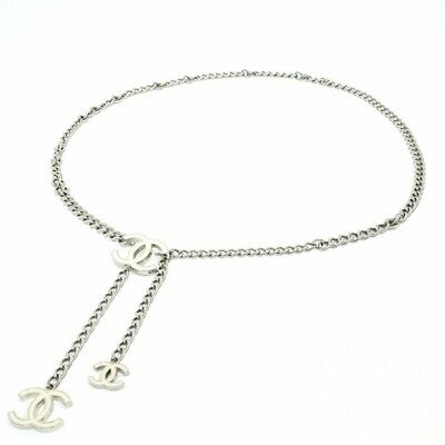 BRb244 Chanel CC coco mark charm Off white / Silver chain belt With tracking