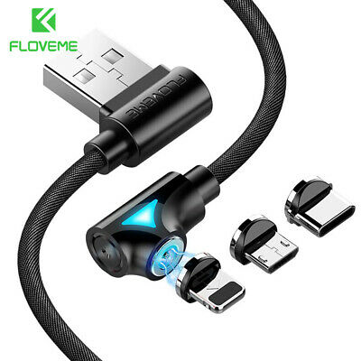 Magnet Elbow Adapter Charging Micro USB Cable Charger For iPhone Android Type C